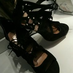 Dolce Vita Caged Heels Black Suede with Gold Studs/back zipper! Never worn. Dolce Vita Shoes Heels