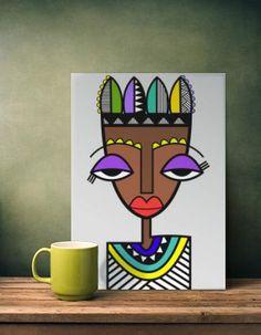 Abstract Face Art, Cubist Art, Picasso Art, African Art, Doodle Art, Art Drawings, Pop Art, Art Projects, Canvas Art