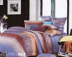 Lenjerie de pat 100% bambus Pucioasa cu dungi Comforters, Blanket, Bed, Furniture, Home Decor, Homemade Home Decor, Stream Bed, Home Furnishings, Rug