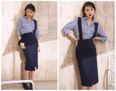 overall dress in navy,with detachable strap,slit at front,knee length,high waist,pencil skirt,for summer and spring.--E0194