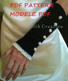 MODELE PATTERN PDF Manchettes mitaines en laine crochet style gothique victorien steampunk manches tricoté main alpaga : Mitaines, gants par gothic-victorian-lilithcreation