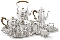 Ensko George I Style Sterling Seven-Piece Tea Service