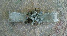 ANTIQUE EDWARDIAN BLUE SATIN WEDDING GARTER RIBBON LOVE KNOTS FLOWERS 20 VINTAGE