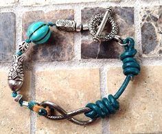 Teal Knotted Leather bracelet with Turquoise and Infinity Charm