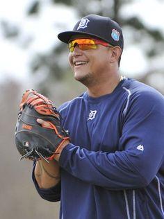 Tigers first baseman Miguel Cabrera jokes around during. Spring Training 2016