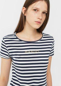 Camiseta logo bordado | MANGO