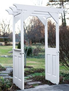 Upcycle Old Doors to Make a Garden Arbor >> http://www.diynetwork.com/how-to/outdoors/hardscape/make-a-garden-arbor-from-old-wooden-doors?soc=pinterest