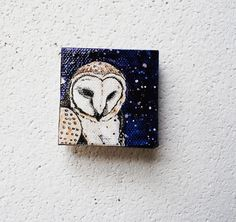 {Barn Owl Galaxy} darling little 2x2 original painting
