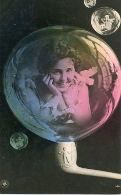 Edwardian Girl in a Bubble Postcard