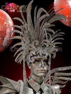 Wild Silver Glitter Drag Queen's Diva Headdress With Beads And Mirrors Vegas Showgirl, Mirror Tiles, Mirrors, Character Costumes, Headgear, Silver Glitter, Headdress, Dance Wear, Masquerade