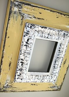 by lauren dunn designs.DIY inspiration, layer old frames.paint & distress (two different colors on the frame is a good idea) Decoration Baroque, Decoration Shabby, Diy Projects To Try, Wood Projects, Craft Projects, Craft Ideas, Painted Furniture, Diy Furniture, Repurposed Furniture