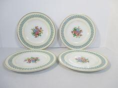 Wedgwood Bone China Woodstock Salad Plates Set of 4 Cream White Blue Laurel  #Wedgwood