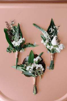 Copper wraps   Groom's boutonnière. Copper green industrial modern wedding…