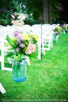 vintage mason jar wedding flowers, www.MelissaTealPhotography.com