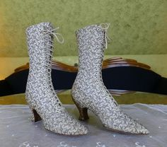 68443abd942e 1895 THAYER McNEIL Metallic Brocade Lace-Up Boots, antique boots, Victorian  boots, antique shoes, Victorian Shoes
