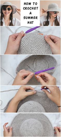 How To Crochet A Summer Hat - Crochetopedia How To Crochet A Summer Hat - Crochetopedia Knitting works add time when ladies spend their time to yourself, when they . Bonnet Crochet, Crochet Beanie, Knit Or Crochet, Crochet Gifts, Crochet Stitches, Knitted Hats, Crochet Patterns, Hat Patterns, Sombrero A Crochet