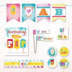 Watercolor Popsicle Baby Shower Instant Downoad PRINTABLE by HWTM
