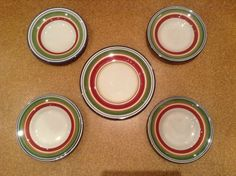 """Pottery Barn Espadrille Stripe FOUR Rimmed Salad Soup Bowls + ONE 12 1/2"""" Plate #PotteryBarn"""
