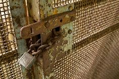 a rusty chain and lock secure the screen that bars access to the windows of abandoned Riverside Hospital, North Brother Island, NYC