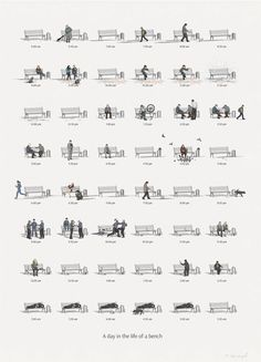 Charming Chart Illustrates 'A Day In The Life Of A Bench' - DesignTAXI.com