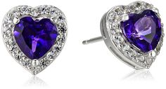 Sterling Silver Birthstone Halo Heart Stud Earrings ** You can find out more details at the link of the image.