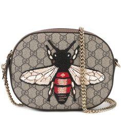 Gucci mini GG Supreme bee bag (1 520 AUD) found on Polyvore featuring women's fashion, bags, handbags, shoulder bags, brown, cross-body handbag, crossbody purses, brown crossbody purse, gucci handbags and brown crossbody