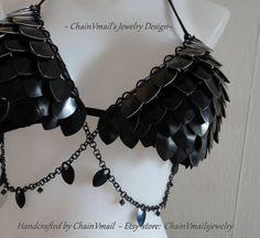 Unique Black Dragon Queen custom metal door ChainVmailsjewelry