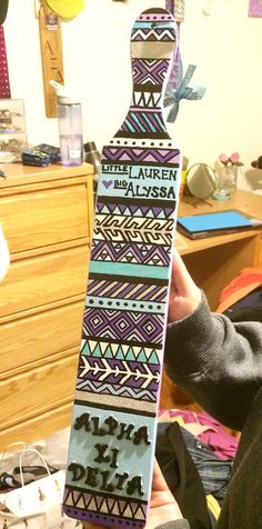 Alpha Xi Delta: Big and little sorority paddle- Aztec design