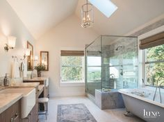 Vaulted Ceiling Master Bathroom with Large Shower Farmhouse Sink and Freestanding Tub - Luxe Interiors + Design Farmhouse Sink Bathroom Vanity, Modern Farmhouse Bathroom, Farmhouse Interior, Farmhouse Style, Farmhouse Plans, Home Design, Design Ideas, Bathroom Pictures, Bathroom Ideas
