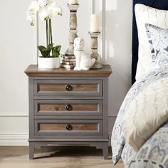 Weston Slate Bedside Chest with Saddle Wood | Pier 1