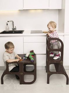 The patented design Little helper tower - table Stepnsit Double-helper for the little helper! The little helper tower - table Stepnsit allows the child to safely reach kitchen surfaces and the sink; moreover, it easily can be transformed into a table and a chair for enjoying meals or