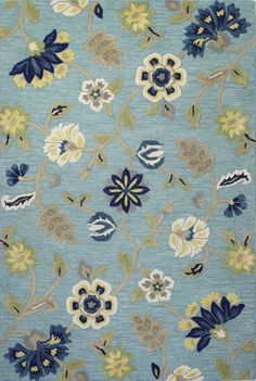 Miley Blue Floral Wool Hand-Woven Area Rug