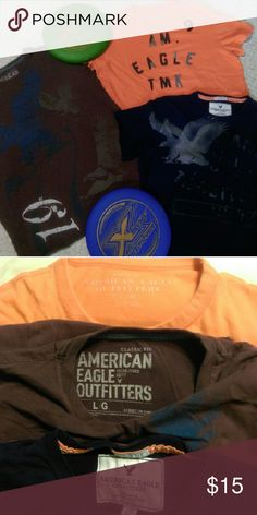 American Eagle t-shirts bundle 3 AE shirts, all size large. Orange one is athletic fit, other 2 are classic fit. Used. Bundle to save more. American Eagle Outfitters Shirts Tees - Short Sleeve