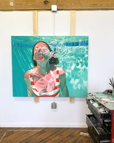 Getting there, work in progress. #samanthafrench #figureativeart #swim #contemporarypainting #wip #oilpaint #womenpaintingwomen #pool