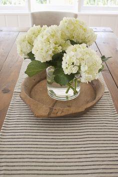 hydrangea on farmhouse table