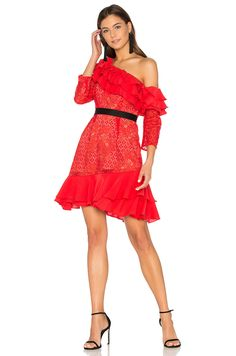 For Love & Lemons Chianti Off Shoulder Ruffle Dress in Red Hot