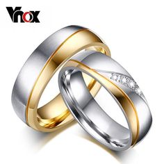 Vnox Rings For Women Man CZ Diamond Wedding Ring 18k Gold Plated Stainless Steel Promise Jewelry - cubic zirconia jewelry