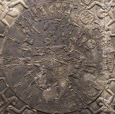 The sandstone Dendera Zodiac comes from the ceiling of the Temple of Hathor in Dendera. Ancient Egyptian Religion, Egyptian Mythology, Astronomical Calendar, Zodiac Circle, Greek Names, Epic Of Gilgamesh, Small Figurines, Ancient Artifacts, Archaeology