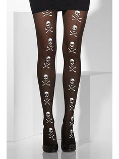 Pirate Fancy Dress Tights with Skull & Crossbones Print by Smiffys Nylons, Pantyhose Legs, Pirate Fancy Dress, Halloween Fancy Dress, Sheer Tights, Opaque Tights, Silk Stockings, Fancy Dress Accessories, Patterned Tights