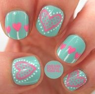 blue heart decorated nail art