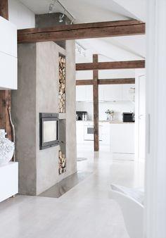 *idee* afscheiding woon/keuken houtblokken zijn leuk!