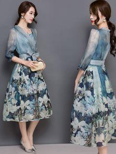 ファッション女性らしい花柄シフォンオーガンザーロングワンピース - Hassyon