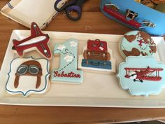 Decorated cookies at a vintage airplanes birthday party! See more party planning ideas at CatchMyParty.com!
