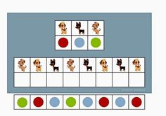 Board and tiles for the 3 dogs visual perception game. By Autismespektrum Preschool Learning Activities, Preschool Worksheets, Pattern Worksheet, Math Patterns, Dog Games, Autism Classroom, Speech Therapy, Perception, Special Education