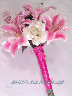 Hot Pink Stargazer Lily Bridal Bouquet // by MajesticSilkFlowers, $95.00