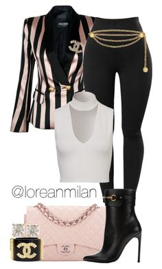 """""""Untitled #499"""" by loreanmilan ❤ liked on Polyvore featuring Balmain, Chanel, Gucci and Anita Ko"""