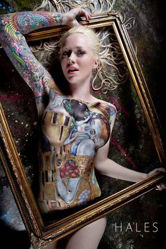 Famous Klimt painting, body paint on tattoo alt model Leah Jung