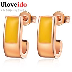 Find More Stud Earrings Information about Rose Gold Plated Yellow Earrings for Women Girls Silver Jewelry with White Black Crystal 2016 New Boucles D Oreilles Jaune R346,High Quality earrings rabbit,China earring korea Suppliers, Cheap earrings sapphire from ULOVE Fashion Jewelry on Aliexpress.com