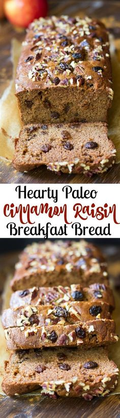 Hearty Cinnamon Raisin Paleo Breakfast Bread that's great alone or toasted with…