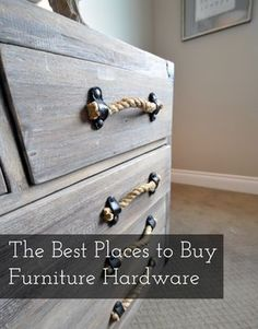 """Dresser Handles: Rope The best way to add the """"wow"""" factor to an old piece of furniture (or even a new one) is to replace the hardware. Fancy hardware can make an """"eh"""" piece of furniture look amazing. In fact, I went . Furniture Projects, Furniture Makeover, Home Projects, Furniture Update, Living Room Furniture, Home Furniture, Furniture Stores, Furniture Online, Modern Furniture"""